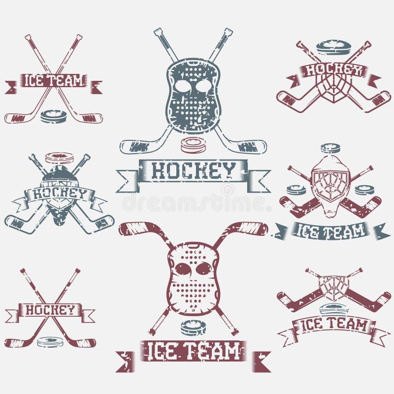 grupo de etiquetas do vintage do grunge do clube de esporte ilustração do vetor