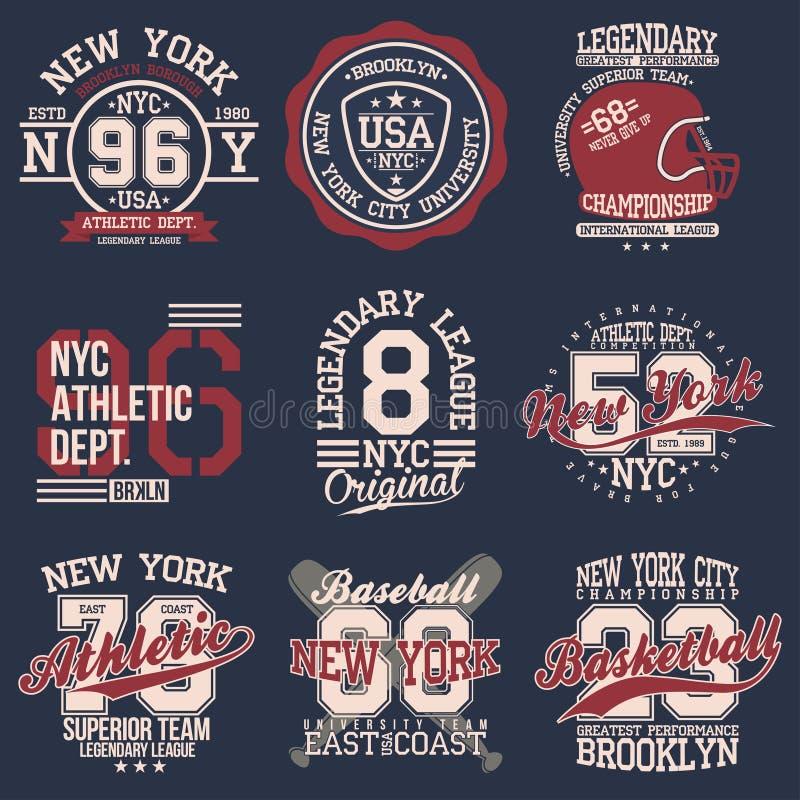Grupo de etiquetas do vintage, tipografia do esporte atlético para a cópia da camisa de t Estilo do time do colégio Gráfico do t- ilustração do vetor