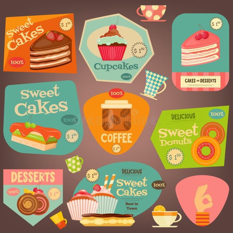 Grupo de etiquetas dos bolos ilustração royalty free