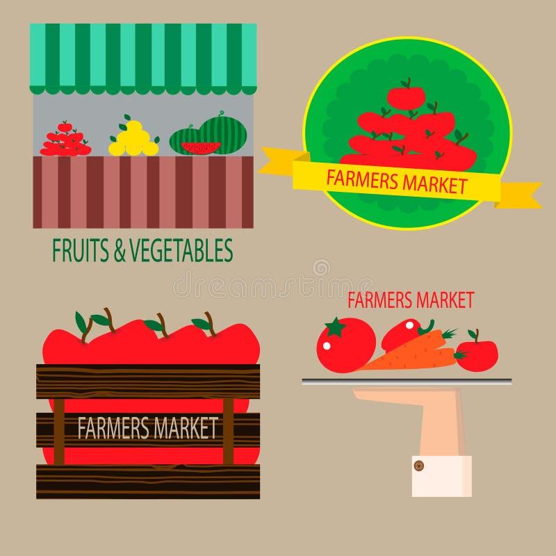 Grupo de etiquetas dos fazendeiros ilustração do vetor