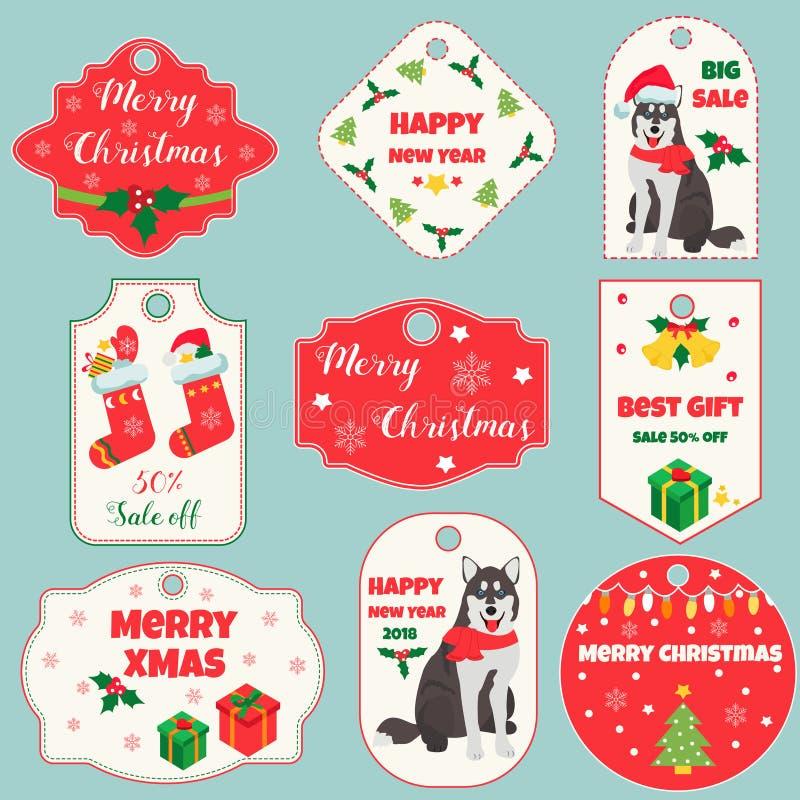 Grupo de etiquetas e de crachás do feriado com a decoração do ano novo e do Natal Aperfeiçoe pelo ano do cão 2018 ilustração do vetor