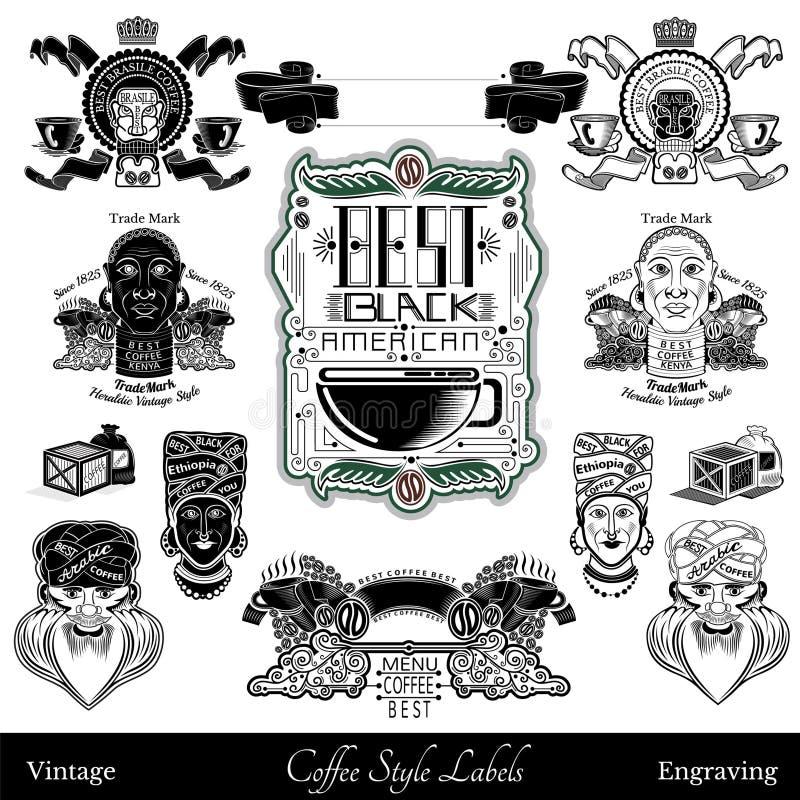 Grupo de etiquetas e de elementos do café da parte diferente do mundo Preto isolado ilustração royalty free