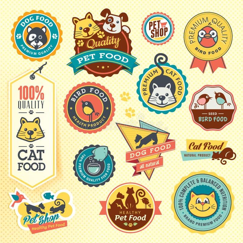 Grupo de etiquetas e de etiquetas do animal ilustração royalty free