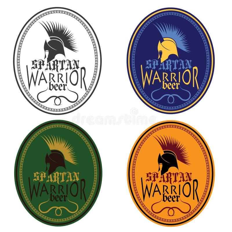 Grupo de etiquetas espartano da garrafa de cerveja do guerreiro das antiguidades do vintage ilustração stock