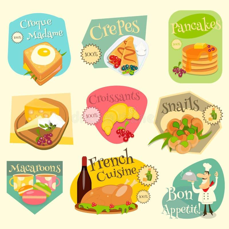 Grupo de etiquetas francês do alimento ilustração royalty free