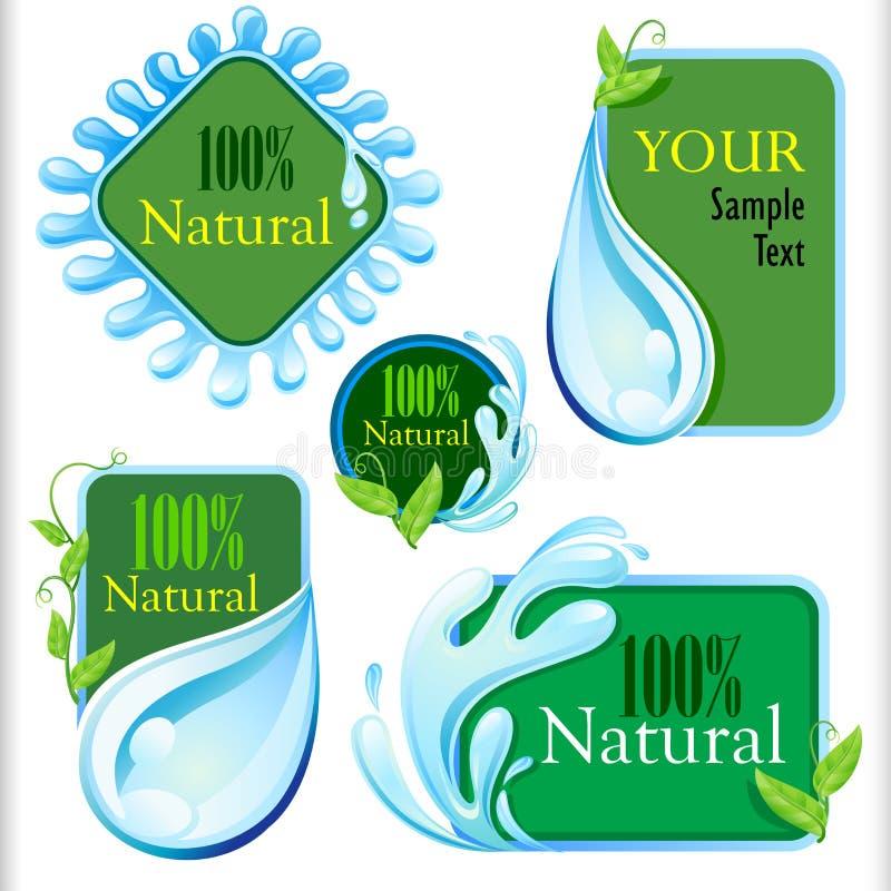 Grupo de etiquetas frescas e naturais da água ilustração stock