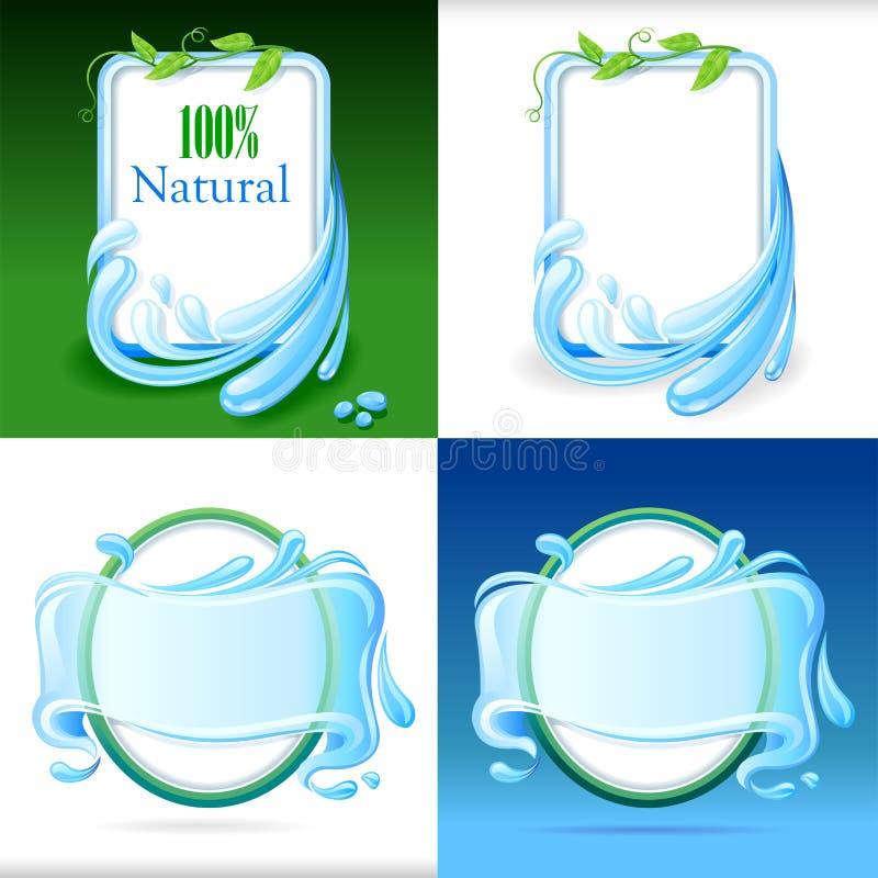 Grupo de etiquetas frescas e naturais da água ilustração royalty free