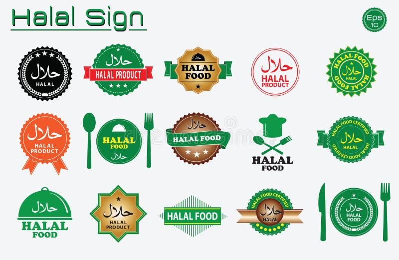 Grupo de etiquetas Halal do alimento ilustração royalty free