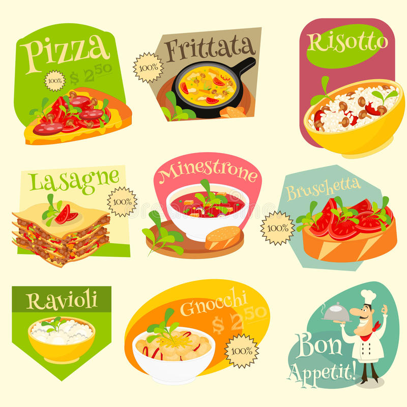 Grupo de etiquetas italiano do alimento ilustração stock