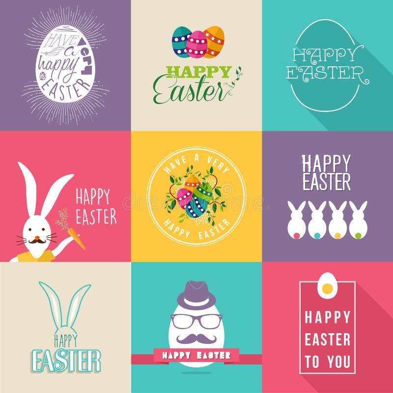 Grupo de etiquetas liso do projeto da Páscoa feliz ilustração stock
