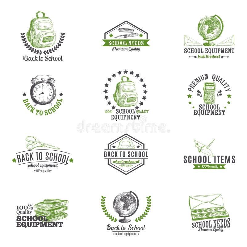 Grupo de etiquetas, logotipo do vetor com a mão da escola tirada ilustração royalty free