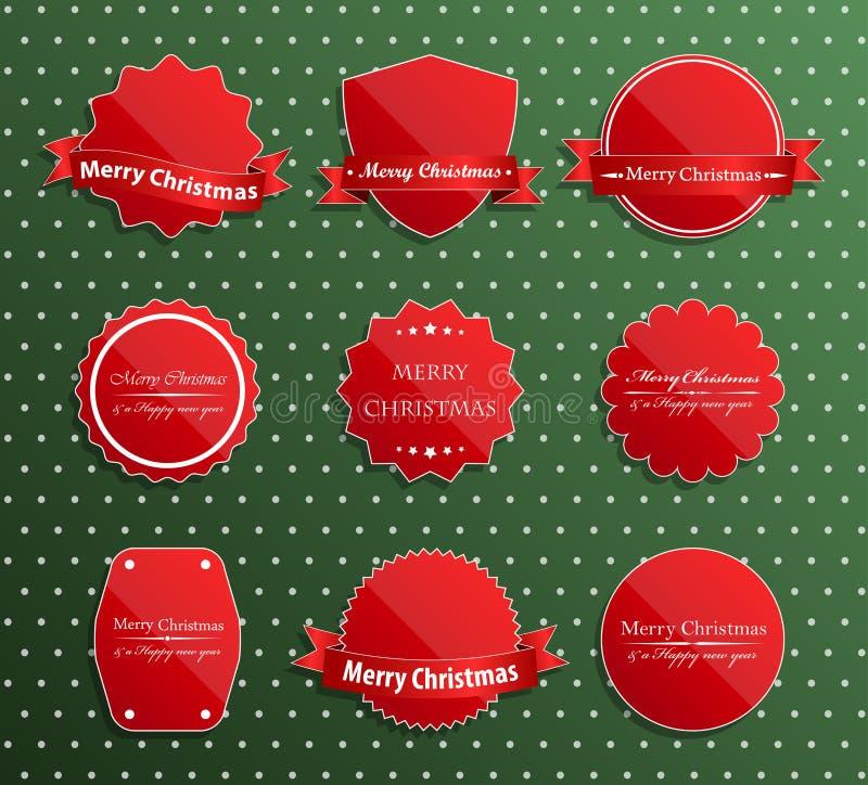 Grupo de etiquetas luxuosas do Natal. ilustração stock