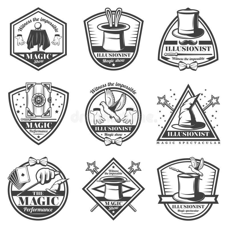 Grupo de etiquetas mágico monocromático da mostra do vintage ilustração stock