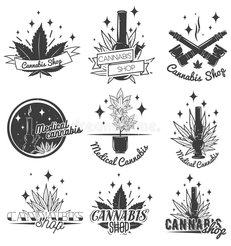 Grupo de etiquetas médicas da marijuana no estilo do vintage Os emblemas, os crachás e os logotipos do cannabis para a loja proje ilustração stock