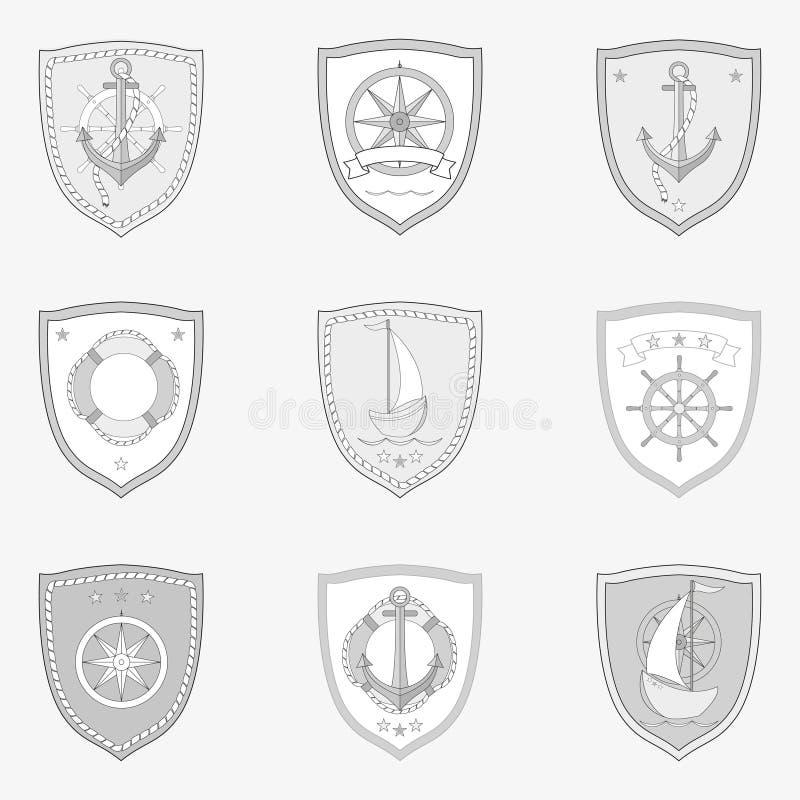 Grupo de etiquetas marinho monocromático do vintage com vetor isolado da âncora do volante dos barcos das embarcações dos navios  ilustração do vetor