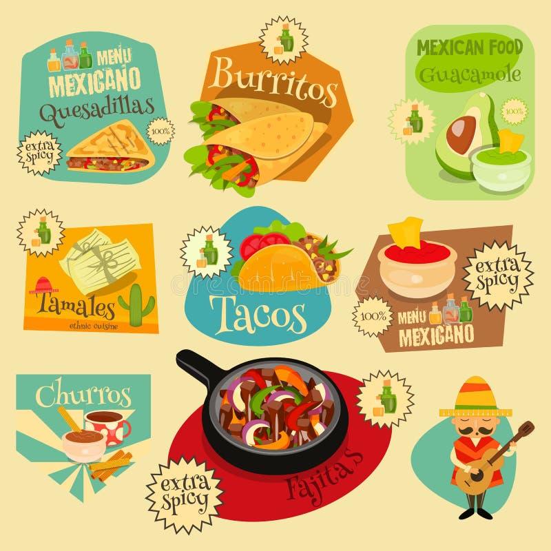 Grupo de etiquetas mexicano do alimento ilustração royalty free