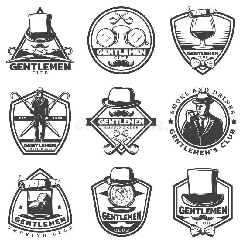 Grupo de etiquetas monocromático do cavalheiro do vintage ilustração royalty free