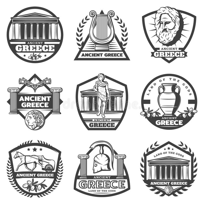 Grupo de etiquetas monocromático de Grécia antigo do vintage ilustração royalty free