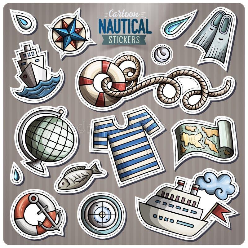 Grupo de etiquetas náuticas dos desenhos animados do vetor ilustração stock