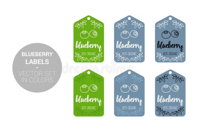Grupo de etiquetas natural da loja do fruto do mirtilo em cores verdes, azuis ilustração do vetor