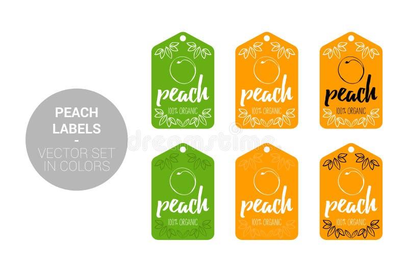 Grupo de etiquetas natural da loja do fruto do p?ssego em cores verdes, alaranjadas ilustração do vetor