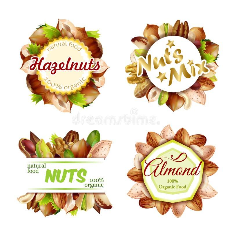 Grupo de etiquetas Nuts natural colorido superior ilustração do vetor
