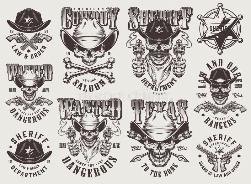 Grupo de etiquetas ocidental selvagem monocromático do vintage ilustração royalty free