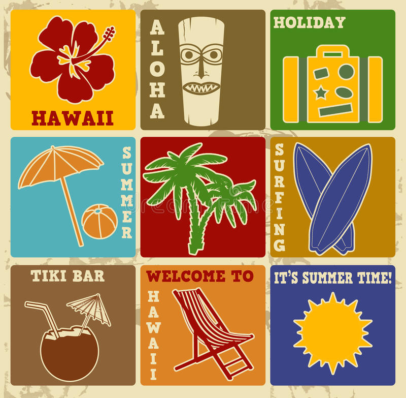 Grupo de etiquetas ou de cartazes de Havaí do vintage ilustração royalty free