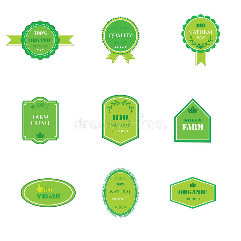 Grupo de etiquetas para o alimento orgânico e natural ilustração royalty free