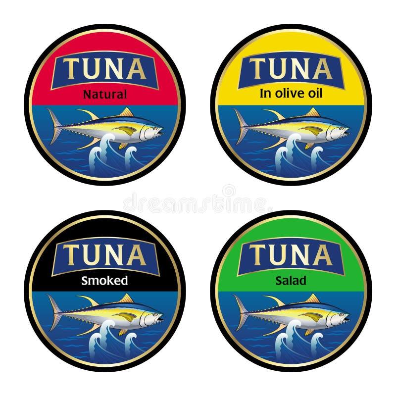 Grupo de etiquetas para o atum enlatado ilustração royalty free