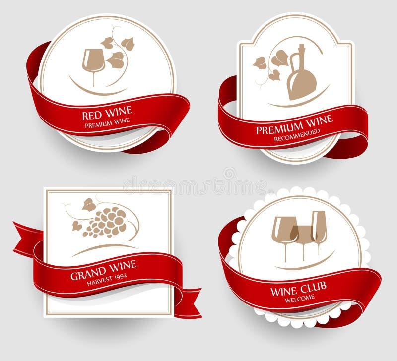 Grupo de etiquetas para o vinho ilustração royalty free
