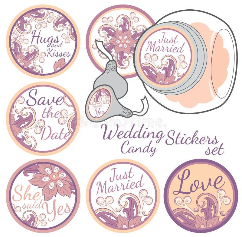 Grupo de etiquetas personalizado da etiqueta dos doces ilustração stock