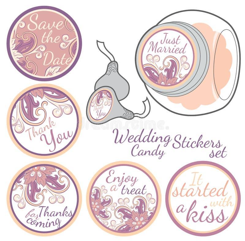 Grupo de etiquetas personalizado da etiqueta dos doces ilustração royalty free