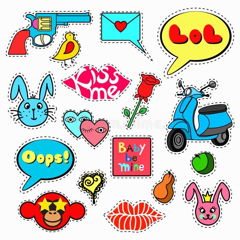 Grupo de etiquetas, pinos, remendos no estilo cômico dos desenhos animados 80s-90s ilustração stock