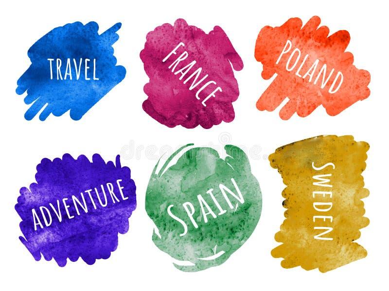 Grupo de etiquetas que letteling frases - coleção do curso - Europa ilustração stock