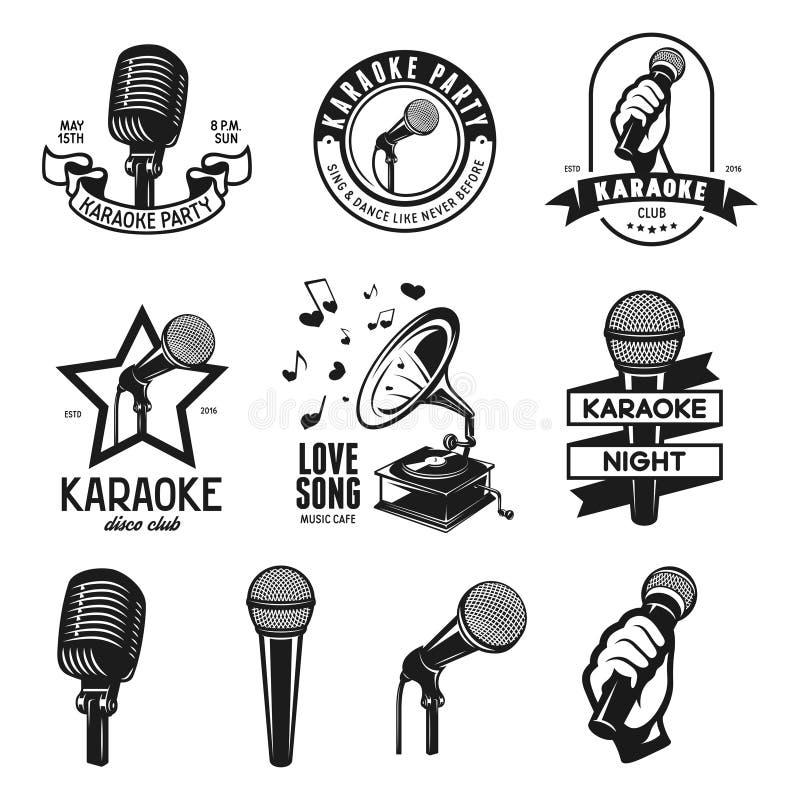 Grupo de etiquetas relativas karaoke do vintage, crachás e elementos do projeto Ilustração do vetor ilustração stock