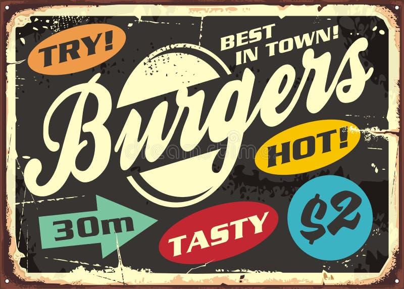 Grupo de etiquetas retro do Hamburger no sinal velho do metal ilustração do vetor