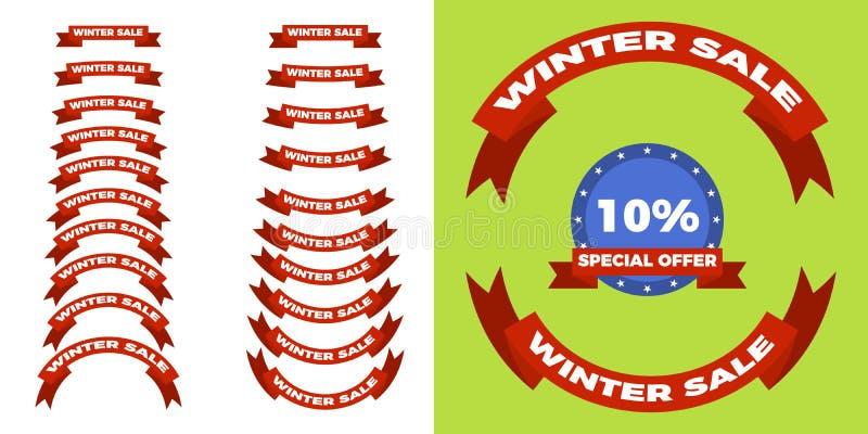 Grupo de etiquetas retro do Natal e da venda do inverno, estilo liso ilustração royalty free