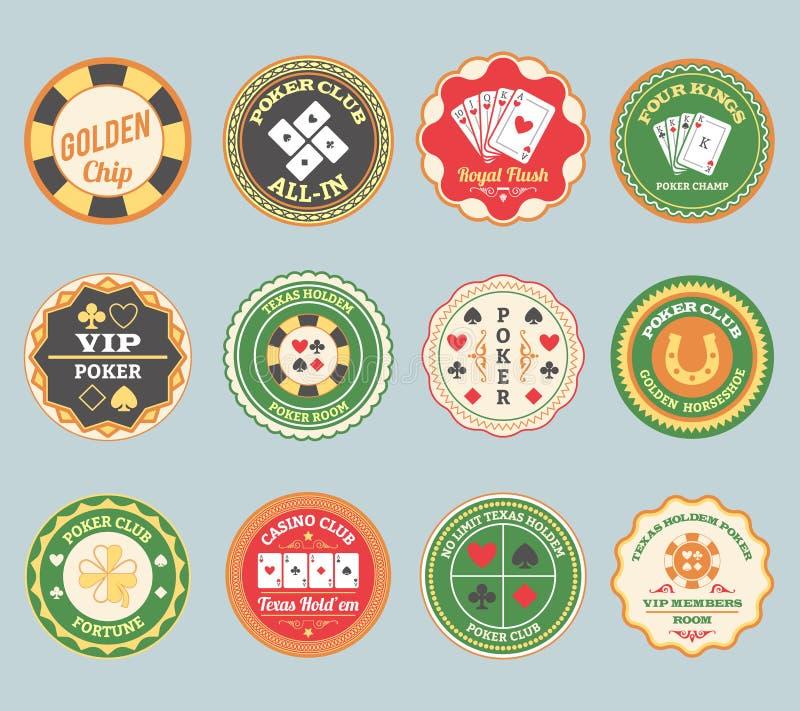 Grupo de etiquetas retro do pôquer ilustração do vetor
