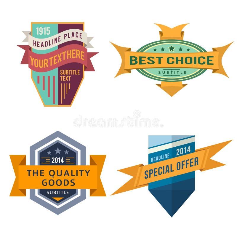 Grupo de etiquetas retros da fita do logotipo do vetor e de bandeiras do protetor do estilo do vintage ilustração do vetor