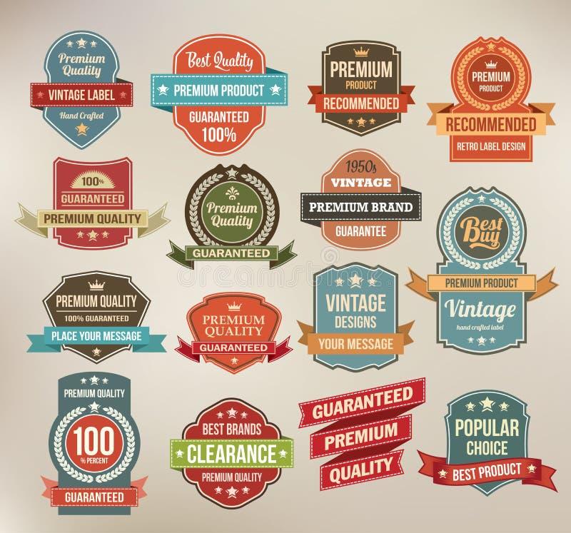 Grupo de etiquetas retros e de fitas da etiqueta do vetor. ilustração royalty free