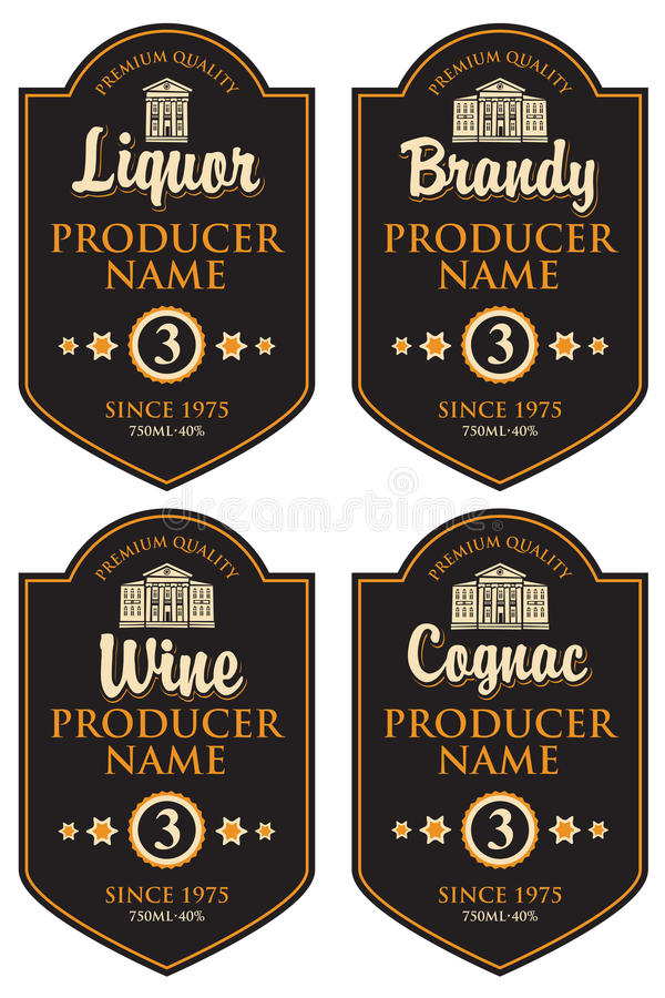 Grupo de etiquetas retros para várias bebidas do álcool ilustração royalty free