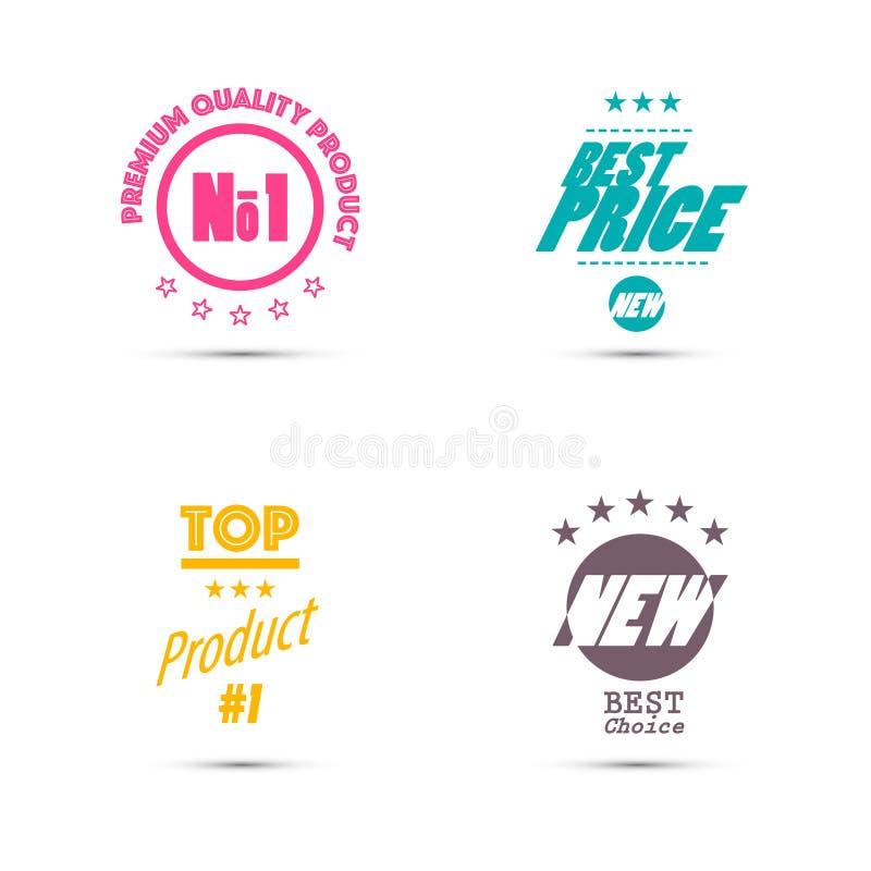 Grupo de etiquetas - selos retros com melhor preço, produto superior ilustração stock