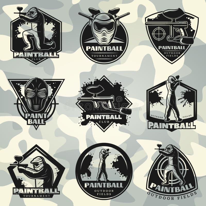 Grupo de etiquetas superior do clube do Paintball do vintage ilustração royalty free