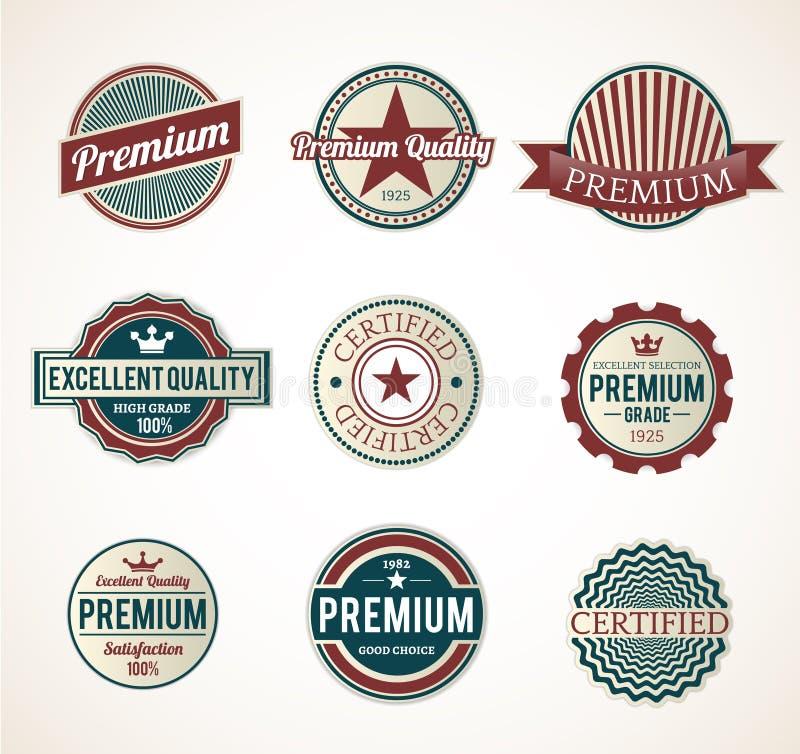 Grupo de etiquetas superiores do vintage ilustração stock