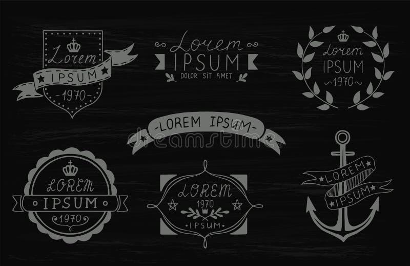 Grupo de etiquetas tiradas mão do vintage Moldes para o projeto das etiquetas, emblemas, logotypes Ilustração do vetor ilustração stock