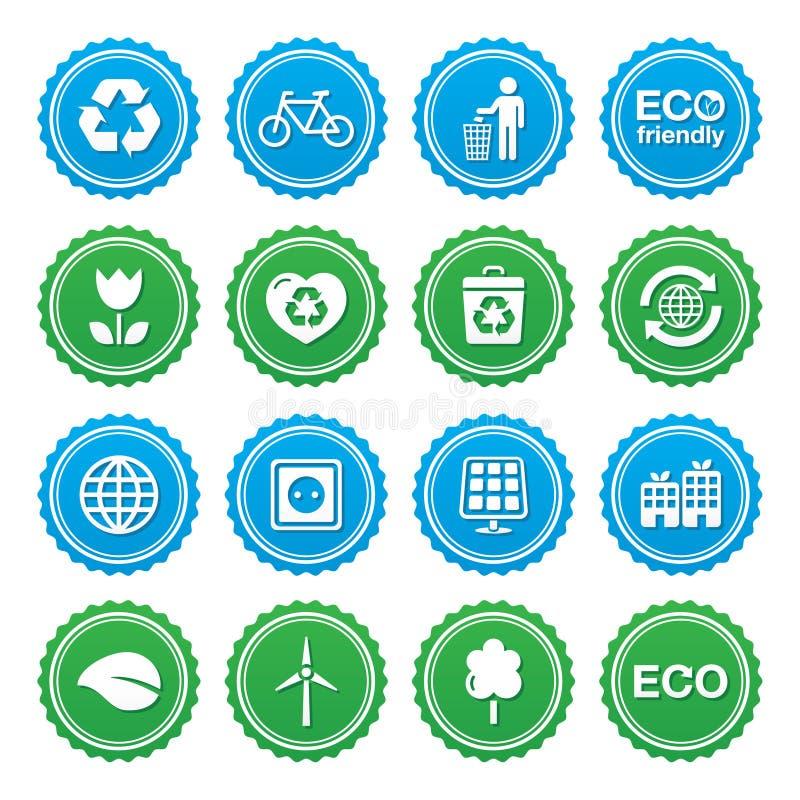 Grupo de etiquetas verde de Eco - ecologia, recyling, conceito da potência do eco ilustração royalty free