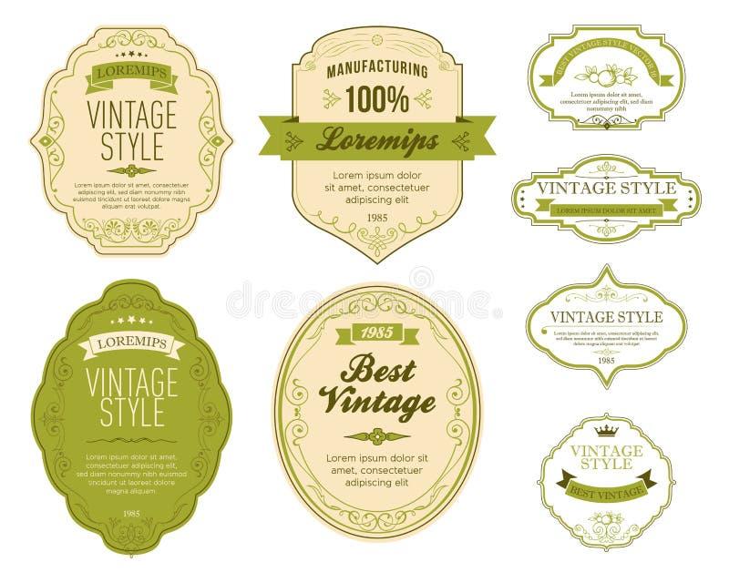 Grupo de etiquetas verdes do vintage ilustração do vetor