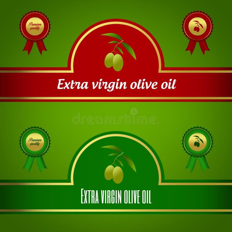 Grupo de etiquetas virgens extra do azeite - vermelho e verde ilustração stock