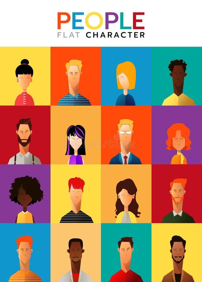 Grupo de executivos, coleção de caráteres diversos no estilo liso dos desenhos animados, ilustração do vetor ilustração do vetor